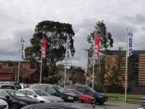 Bilia Volvo auto dealership flagpoles
