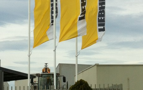 Intrack aluminium flagpoles for Liebherr-Australia