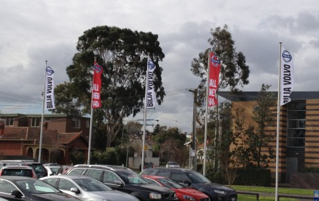 Intrack flagpole project for a car dealership