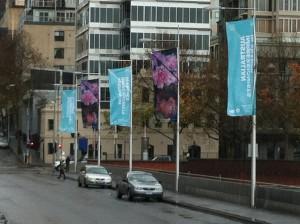 Russell Street flagpoles June 2013